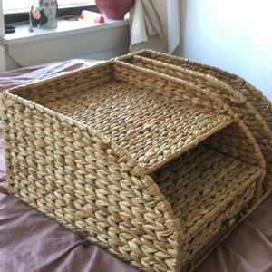 RATTAN WICKER DESK ORGANIZER
